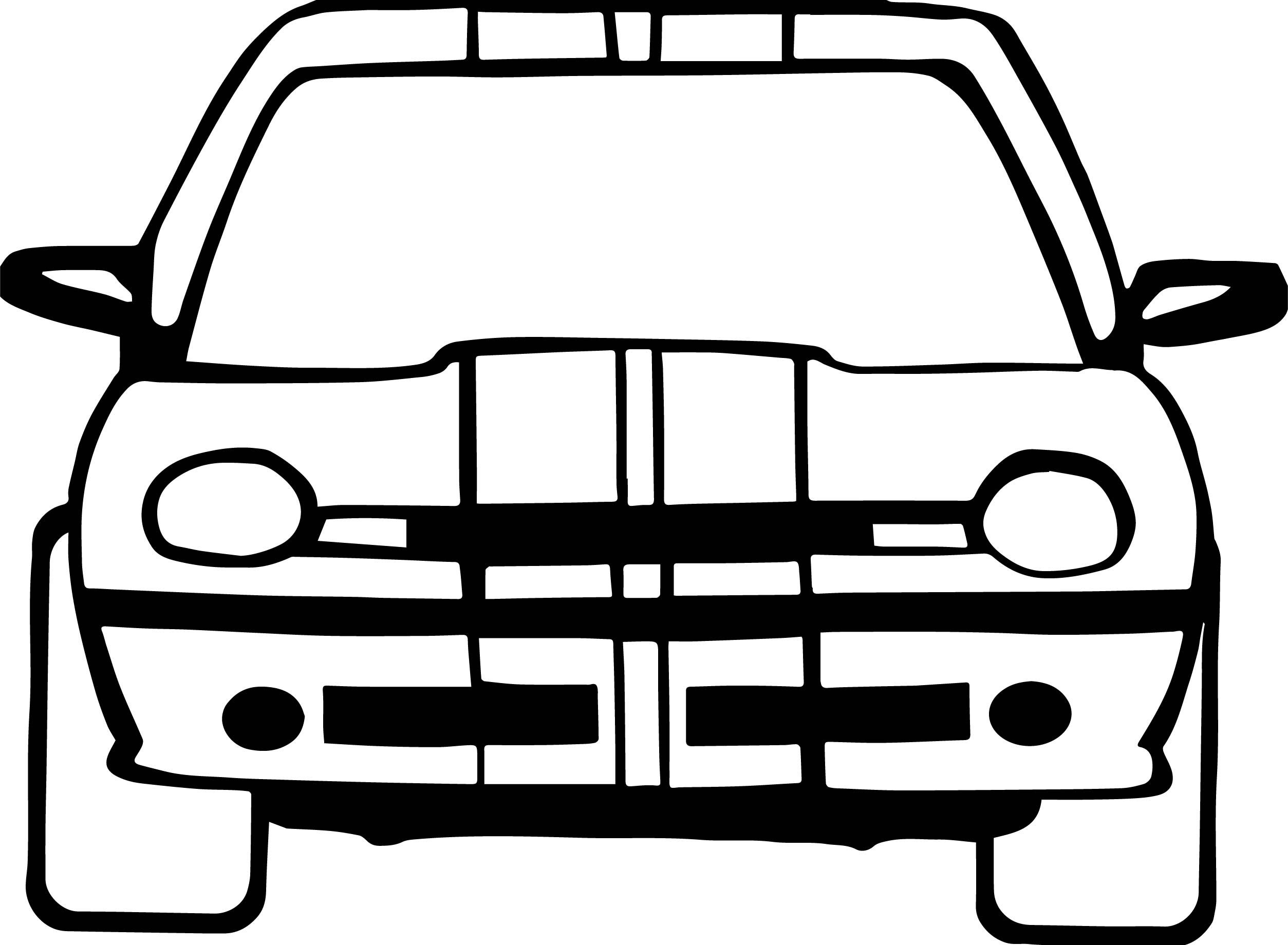 Awesome Car Front View Basic Coloring Page