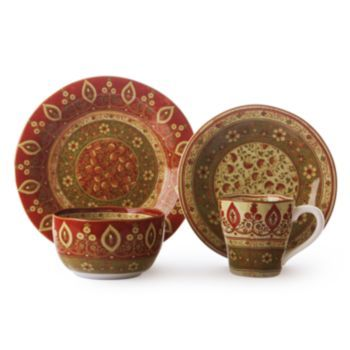 Dress your table with the Kashmir dinnerware set featuring intricate designs in jewel tones that evoke richness and luxury. This attractive set also ...  sc 1 st  Pinterest & 222 Fifth Kashmir 16-pc. Dinnerware Set | dinnerware | Pinterest ...