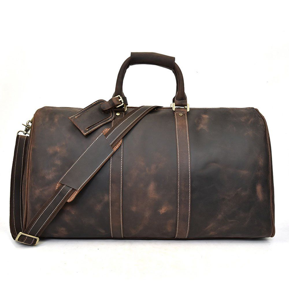 Brown Dark Travel Capacity Bag Large Overnight Holdall I7f6vmgYyb