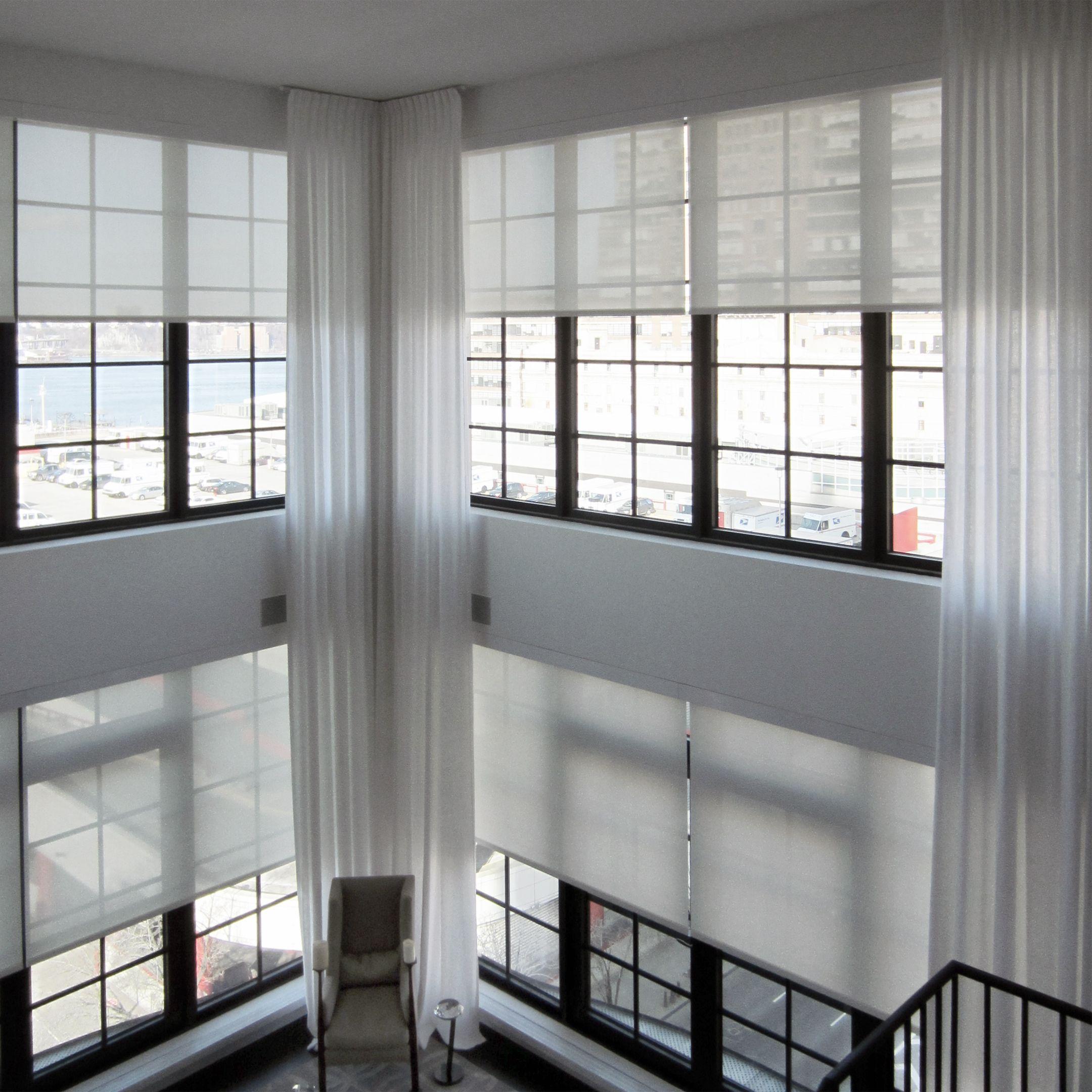 Motorized Window Shades And Sheer Ripple Fold Curtain Panels