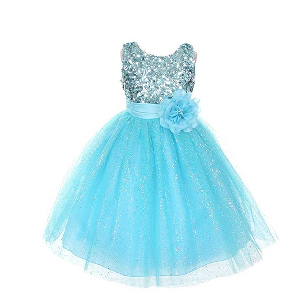 Rain Kids Aqua Sequin Sleeveless Tulle Pageant Dress Girls 4-12 ...