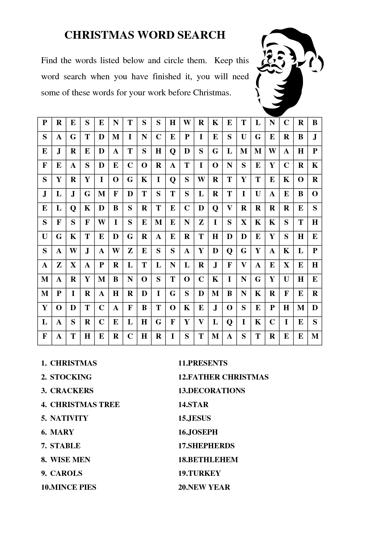 Cristmas Word Searches