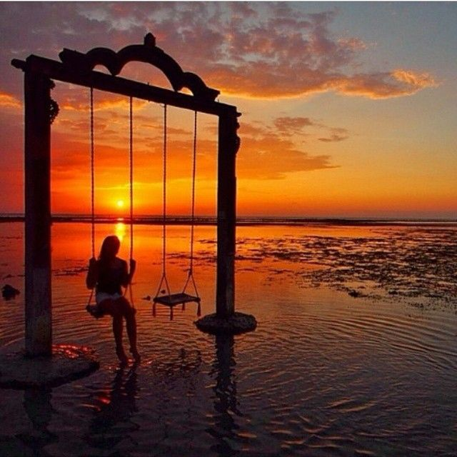 """""""Location:: Gili Trawangan Island, Indonesia""""  Two of my favorite things! Swings and sunsets"""