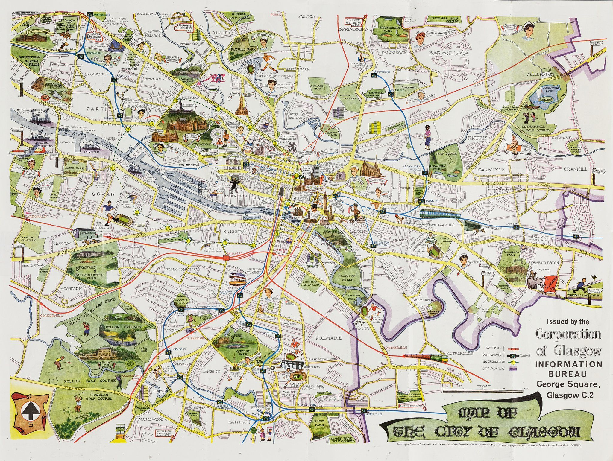 Tourist Map Glasgow Tourist map from the City of #Glasgow Pictorial Map, 1964 #GCA Ref