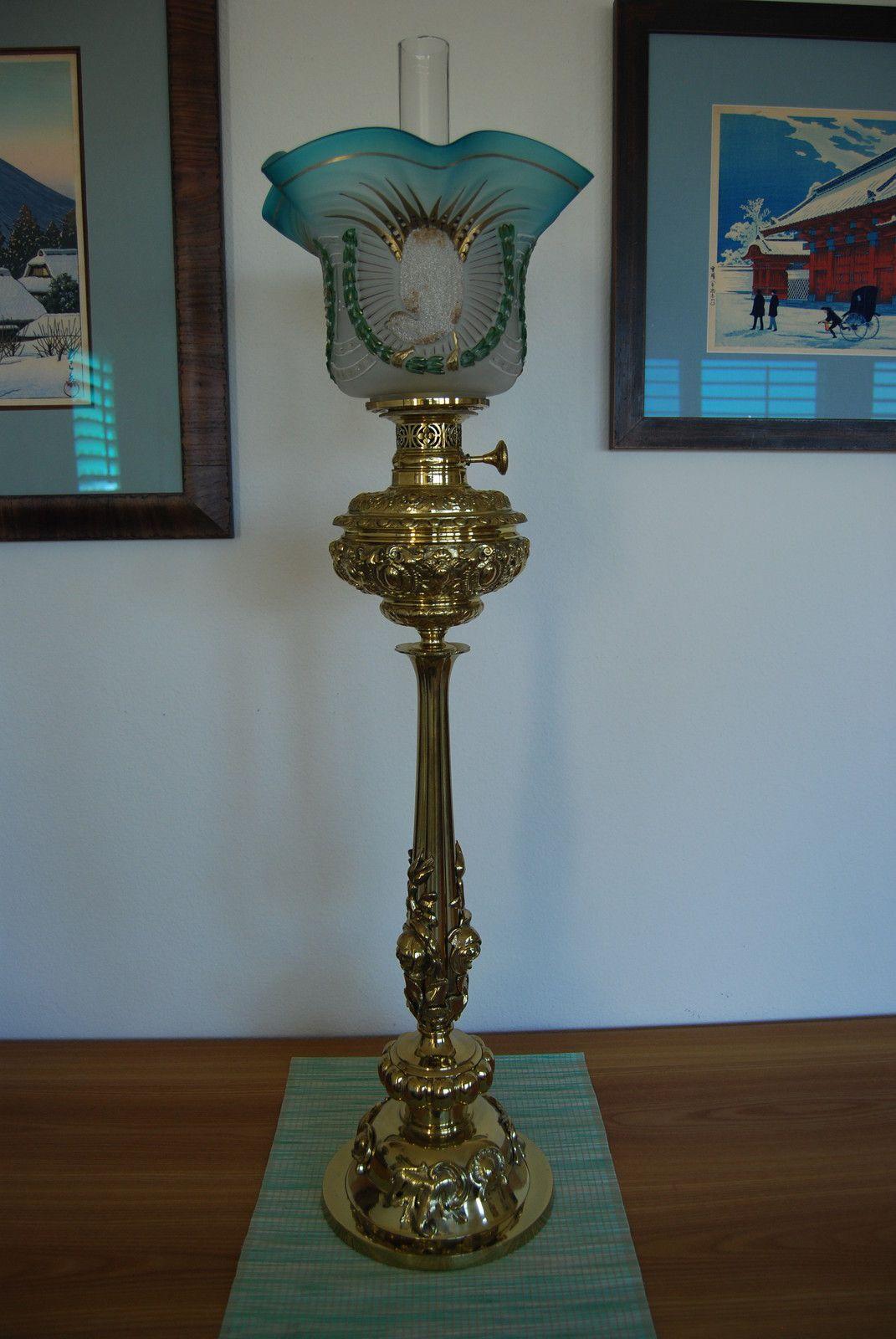 Antique Gwtw Austrian European Parlor Banquet Kerosene Oil Old Bird Shade Lamp Ebay