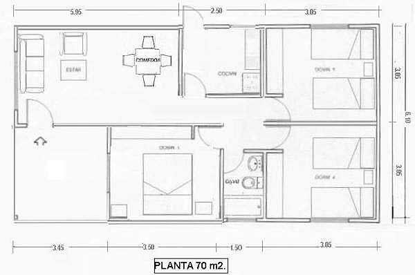 Plano De Casa En Madera De 70 M2 Con Medidas En 2020 Planos De Casas Planos De Casas Prefabricadas Planos De Casa Campestre
