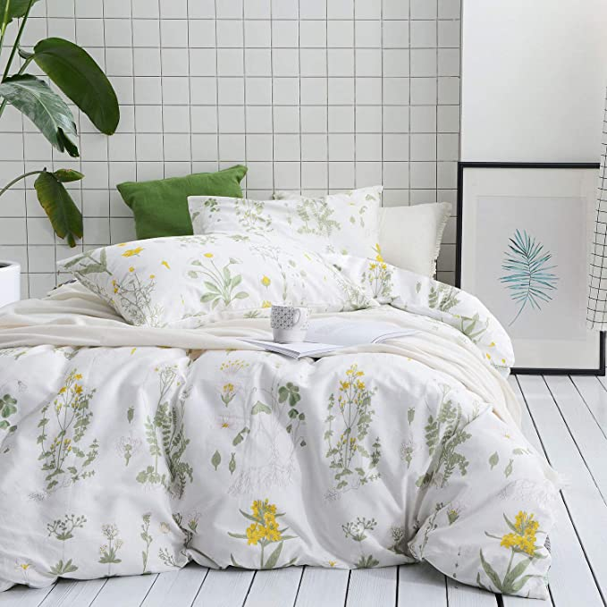 Fadfay Shabby Green Floral Duvet Cover Set Yellow Daisy Purple Lavender Flowers Cotton Bedding Set 3 Piece 1duvet Co Rose Bedding Duvet Cover Sets Duvet Covers