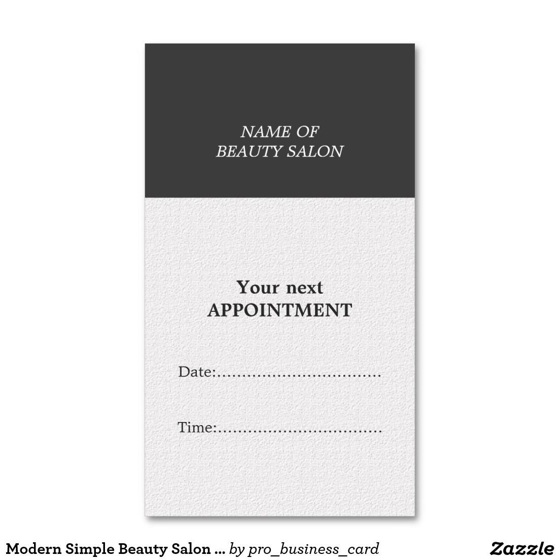 Modern Simple Beauty Salon Appointment Card Business Card ...