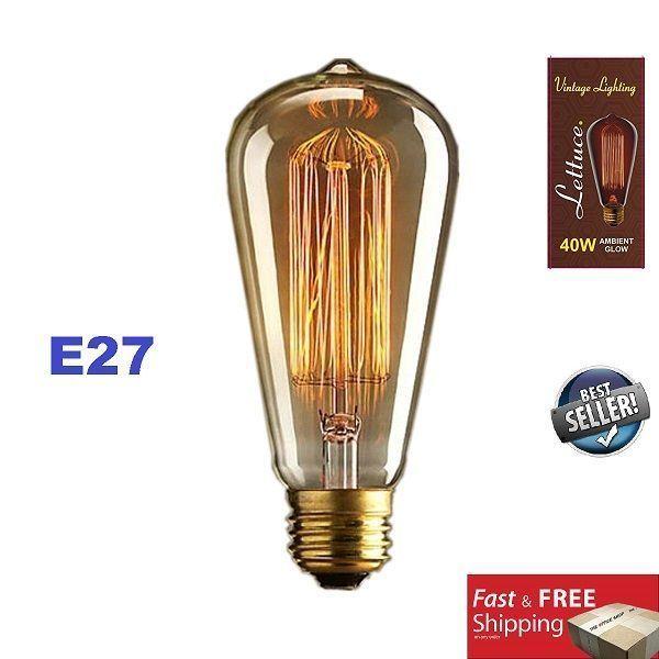 Vintage Light Bulb Retro Old Fashion Edison Screw Tungsten Glass Antique Lamp 27 Vintage Light Bulbs Antique Light Bulbs Edison Light Bulbs