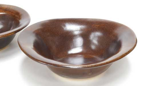 Chocolate Ceramic Rimmed Bowl