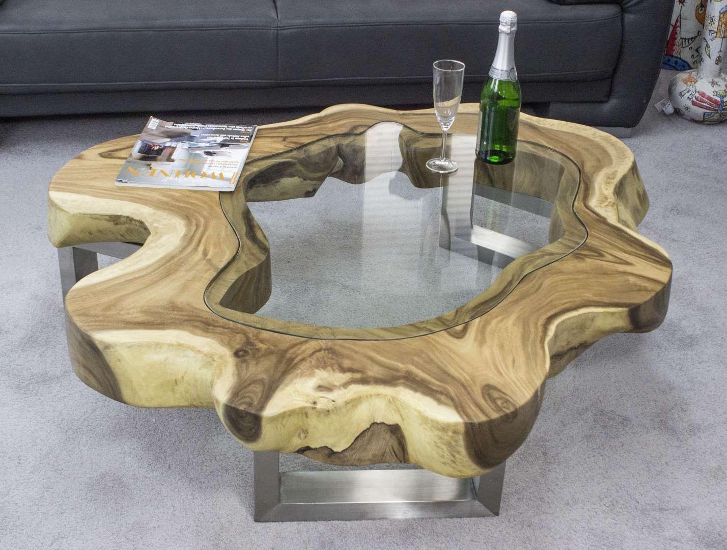 Designer Couchtisch Baumscheibe Mit Glas Couchtisch Baumscheibe