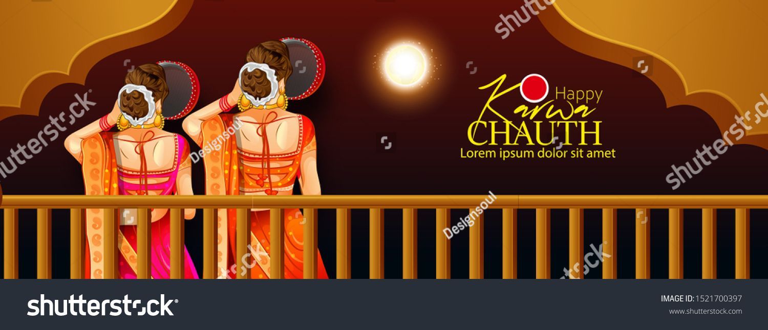 Happy Karwa Chauth festival card with Karva Chauth is a oneday festival celebrated by Hindu women from some regions of India