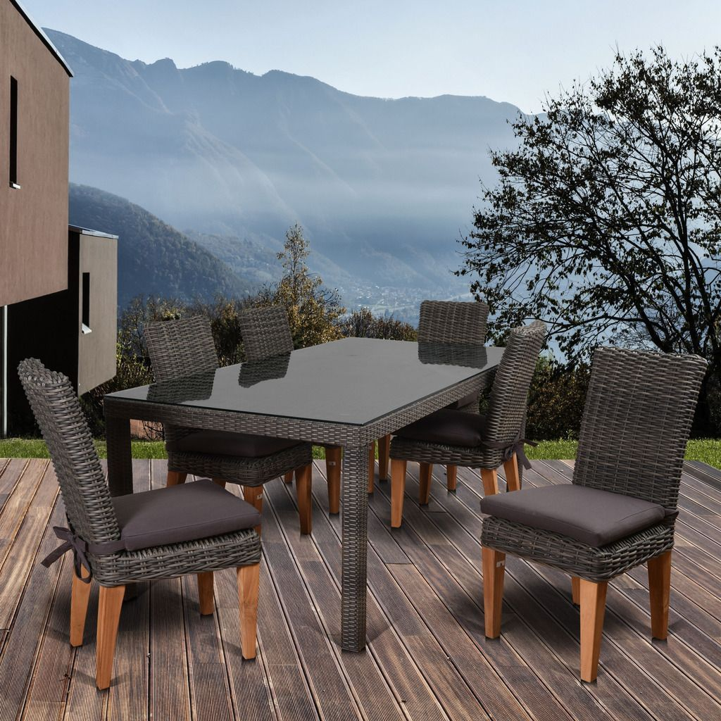 Amazonia sinclair piece teak rectangular patio dining set with