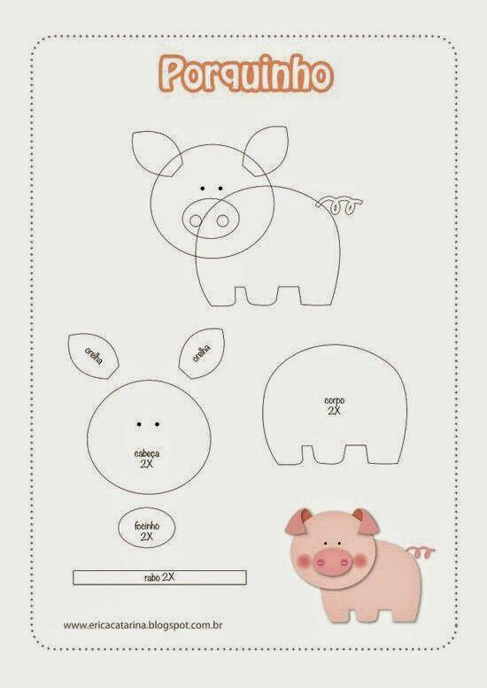 Molde Cerdito | llaveross | Pinterest | Cerdo, Molde y Fieltro