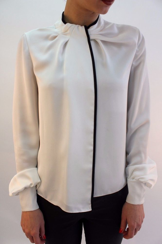 e5e9b658231a1 Karen Millen TA168 Ivory Contrast High Formal Shirt Office Blouse Top 8 -  14 New