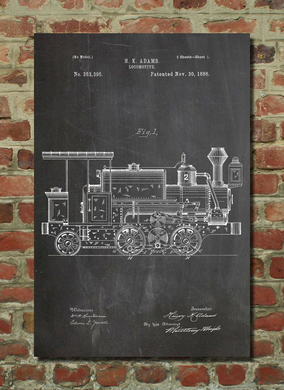 Steam Locomotive 1886 Patent Poster Gilded Age Train Boys Room Decor Wall Art Pp122