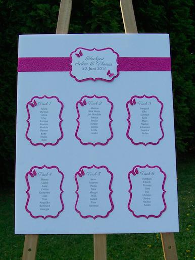 Tischplan Hochzeit  Tischplne HochzeitTaufe  Purple wedding tables Pink purple wedding und