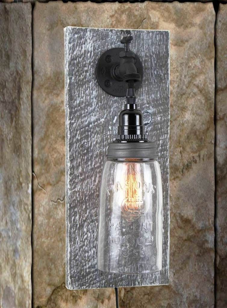 Barn Wood Electric Mason Jar Wall Sconce Water Spigot