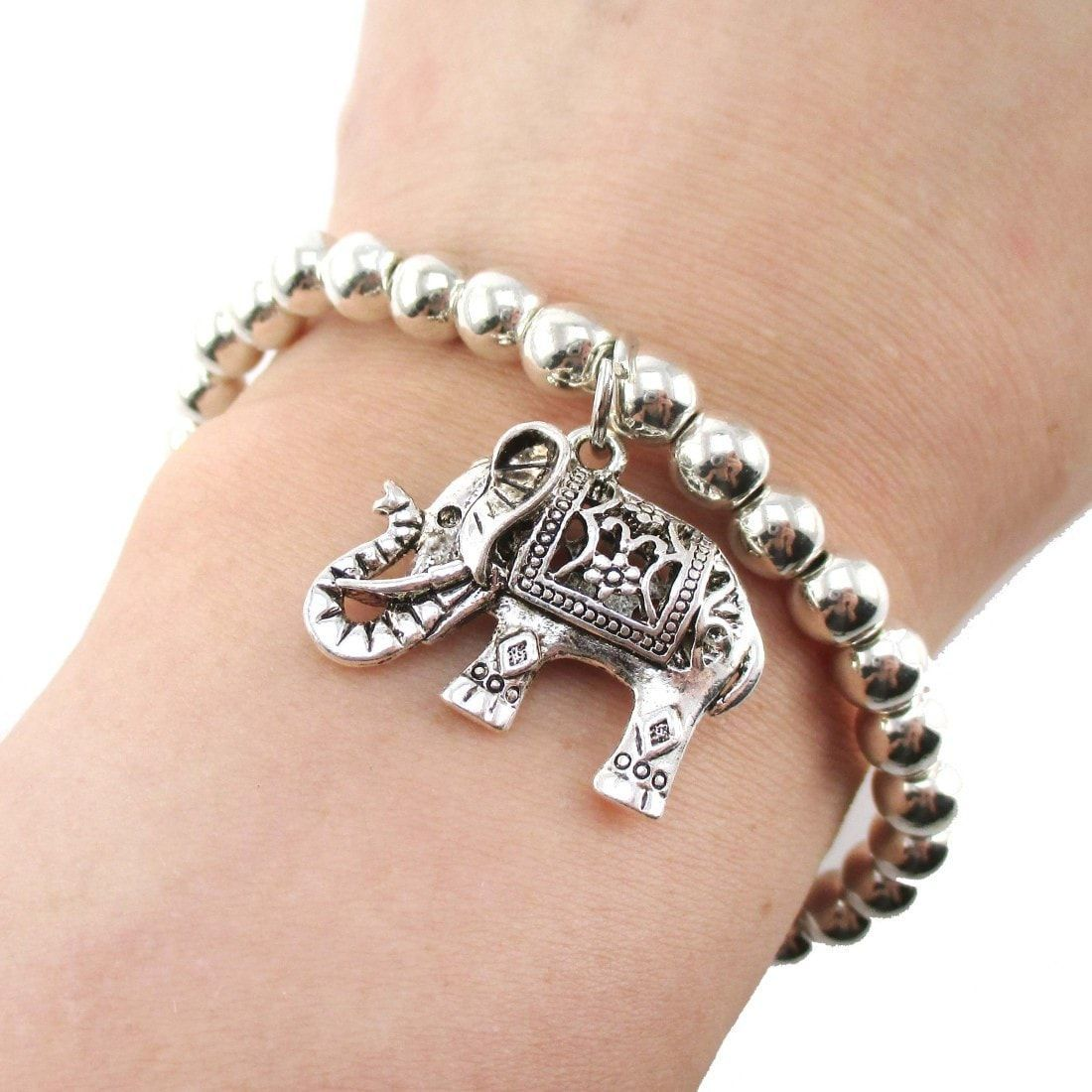 Minimal silver beaded stretchy bracelet with elephant charm