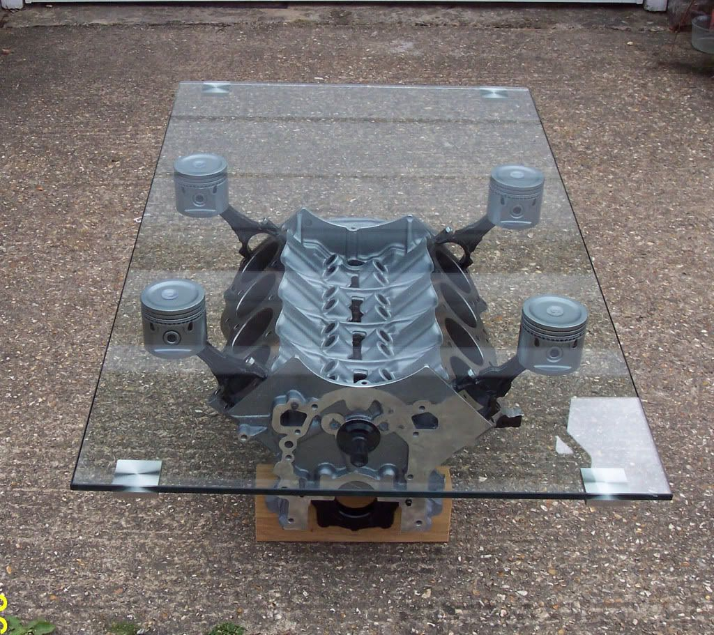 V8 Engine Glass Table: Engine Block Coffee Table