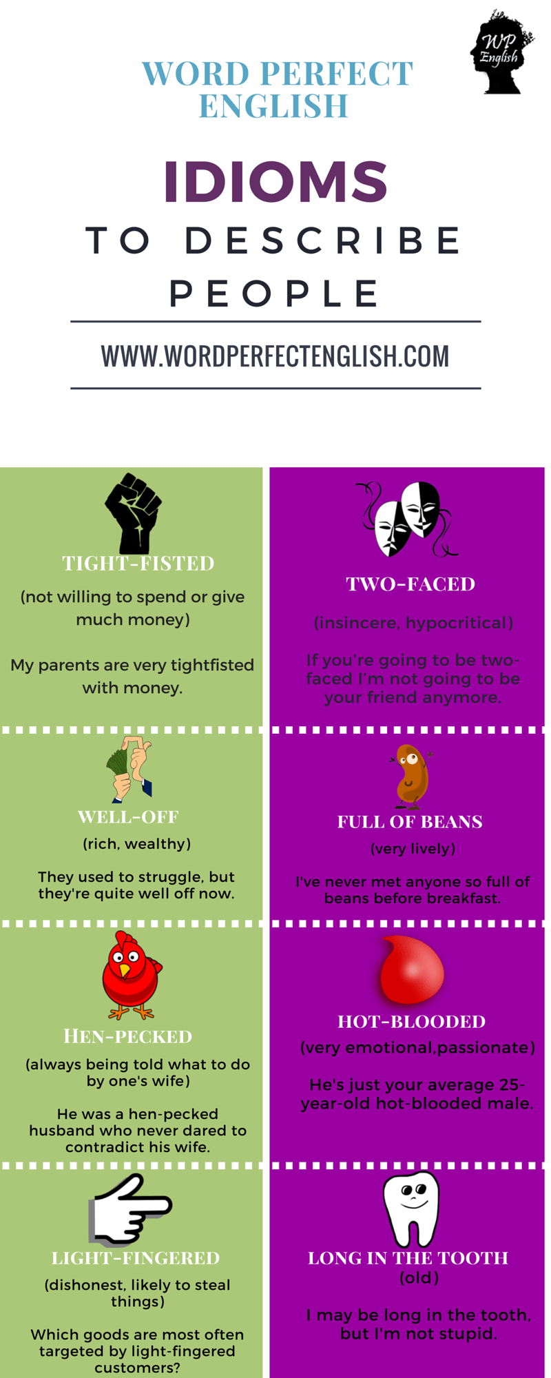 Idioms to Describe People 2/2 … | Classroom writing | Pinte…