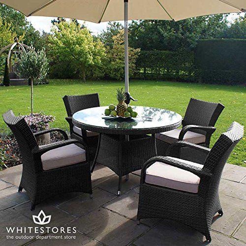 Merveilleux All Weather 4 Seater Outdoor Rattan Garden Furniture Dining Set   Brown