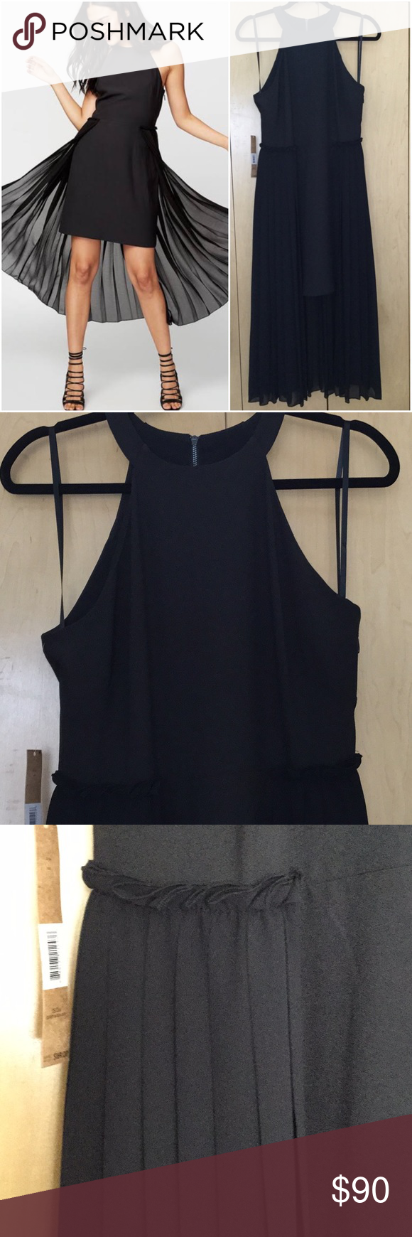 "Rachel Rachel Roy Womens Pleated Chiffon Overlay Rachel Rachel Roy NEW Black Women's Pleated Halter Sheath Dress, fully lining , double zipper, size and back  bust 15.5"", long length 50"", miniskirt length 35"", waist 15"".  #0023 RACHEL Rachel Roy Dresses Midi"