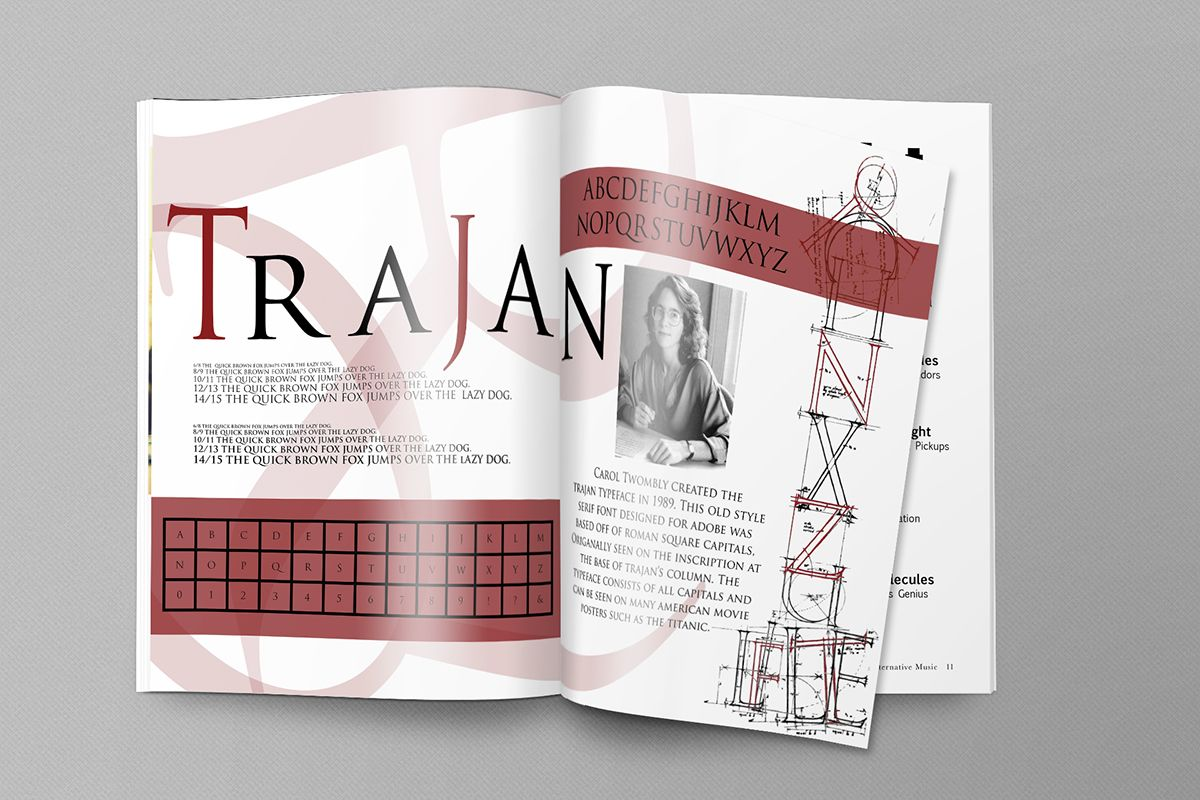 Trajan Typeface Spec sheet on Behance