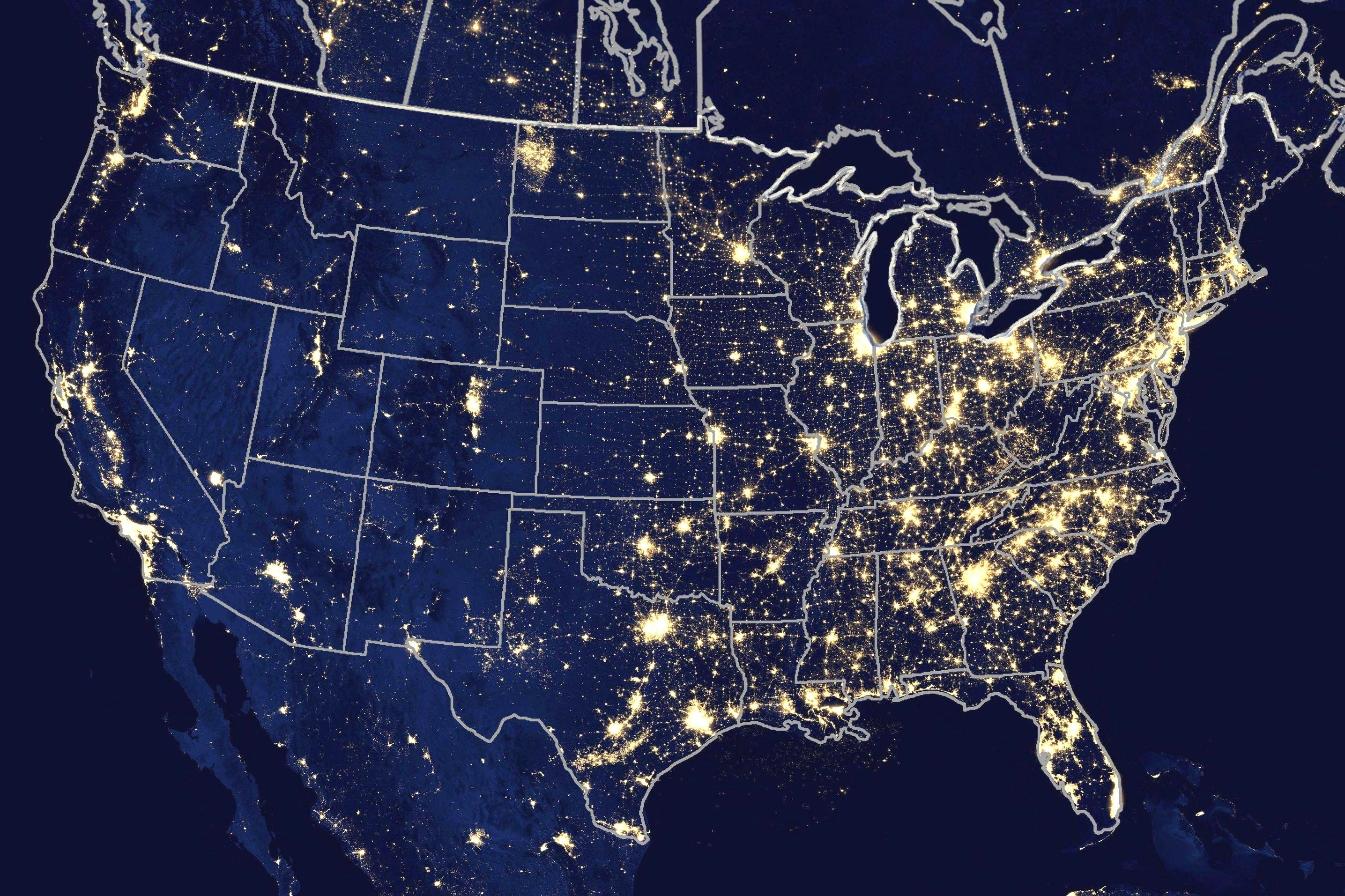 Us Map Lights At Night Wall Hd 2018 Inside Of Usa And WORLD MAPS ...