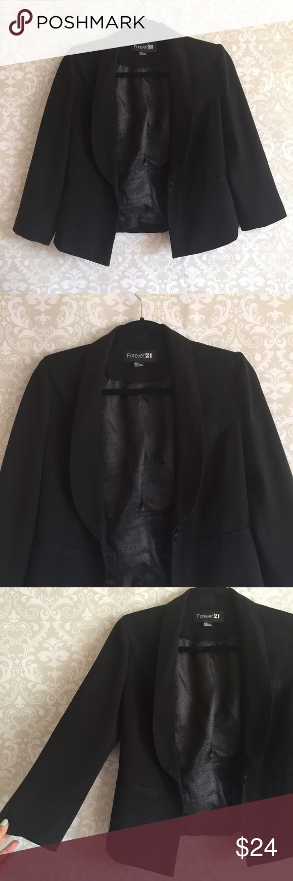 "✨NEW LISTING✨ Black Fitted Blazer Fitted blazer from Forever 21 perfect for work! Size medium. Length of blazer is 24"", pit to pit is 18"", length of sleeve is 19"" and arm opening is 9"". Gently used, very good condition! Please comment below for more measurement info! 💕 Note: I do not model but  I can take a picture of this item on a mannequin upon request. Forever 21 Jackets & Coats Blazers"