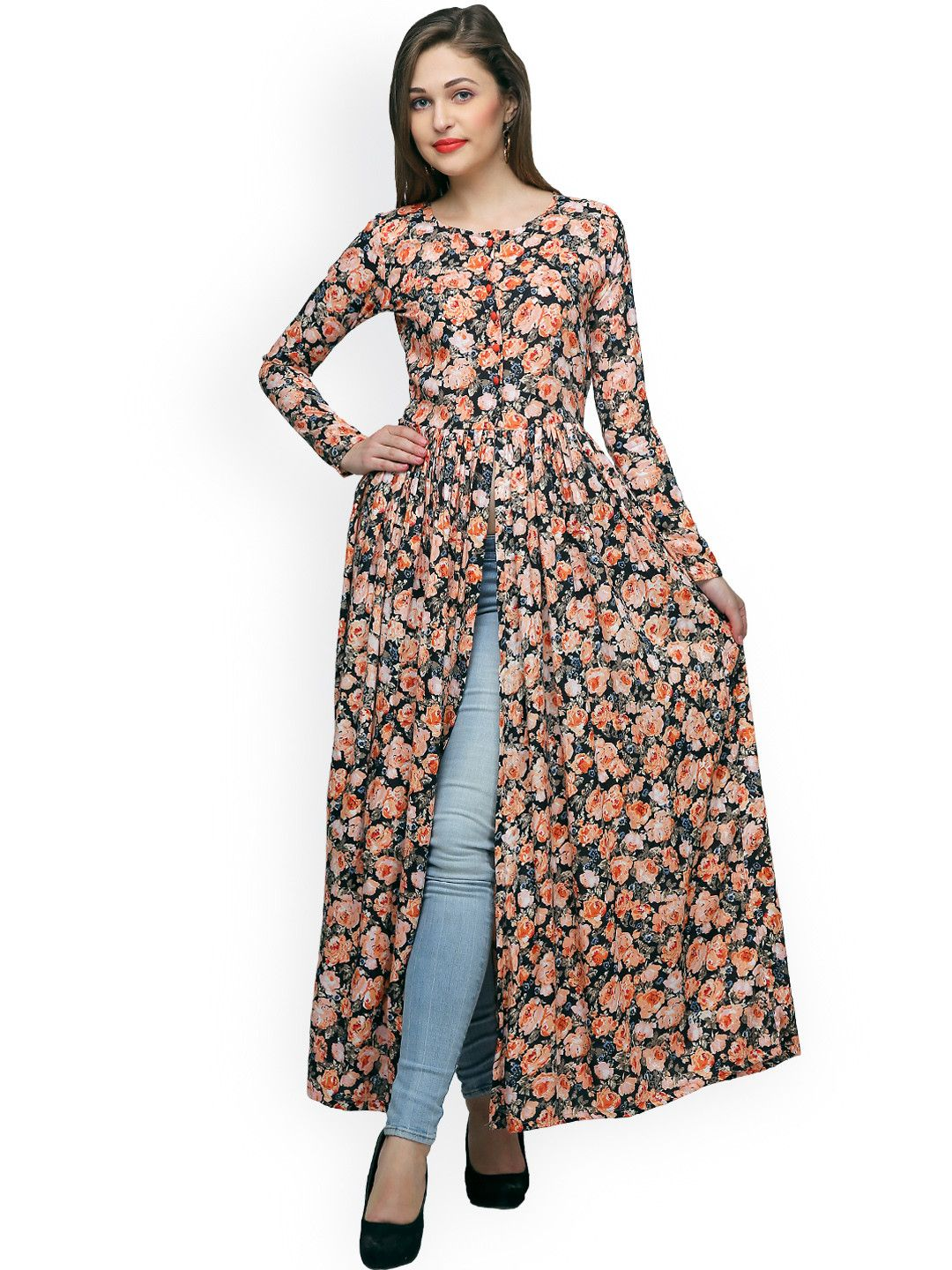 8eb487a4d85 Buy Cation Women Black & Orange Printed Maxi Top - - Apparel for ...