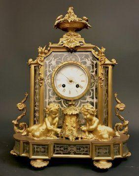 19th C Silvani Paris Mantle Clock Glass Bronze Mantle Clock
