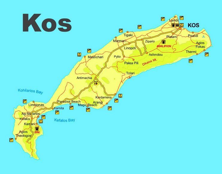 Kos beaches map Maps Pinterest Kos Greece islands and Beach