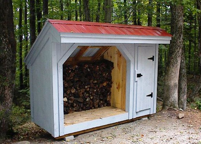 Holds 1 Cord Of Firewood + Secure Storage. Example Shows Optional Autumn  Red Metal Roofing. Available As Plans, Kits   1 Person 15.5 Hours + Fully  Assembled ...