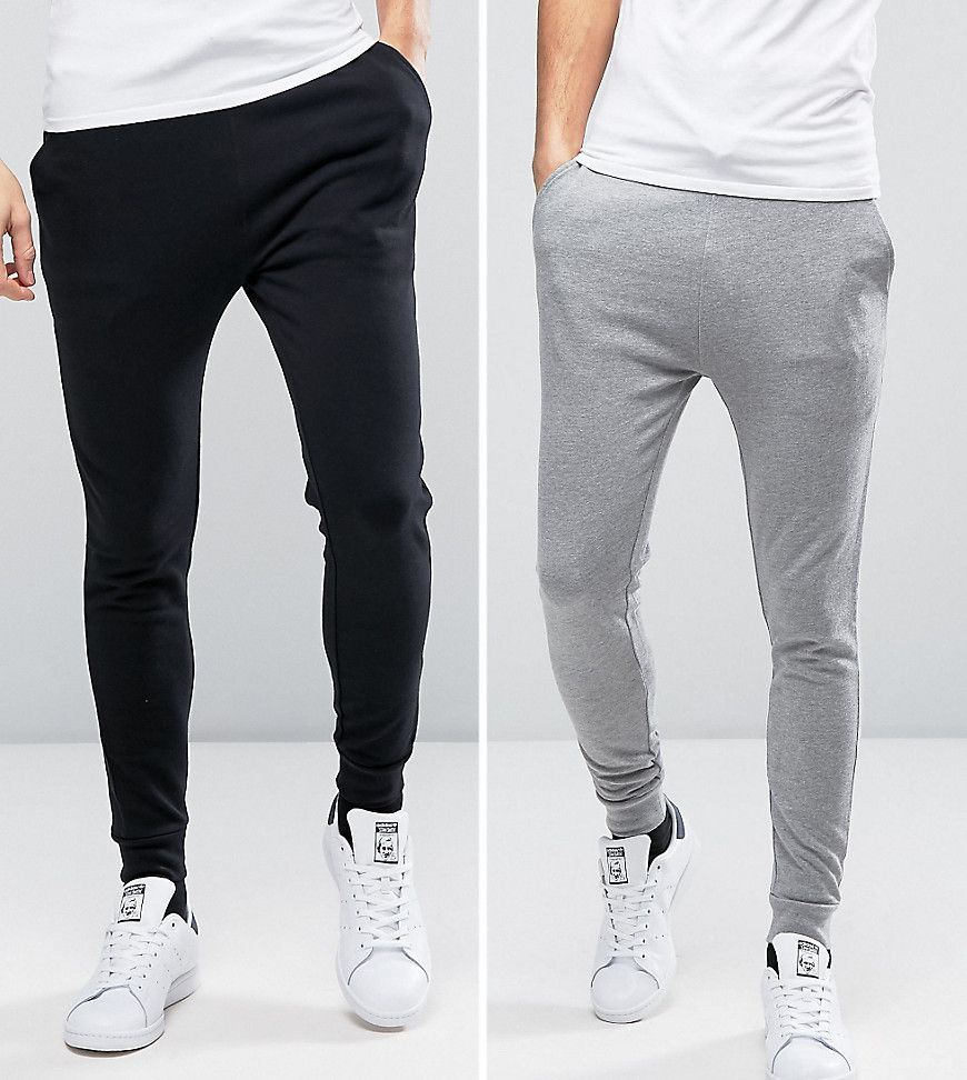 Get this Asos's joggers now! Click for more details. Worldwide shipping. ASOS  Skinny Joggers In Black/Grey 2 PACK SAVE - Multi: Joggers pack by ASOS, ...
