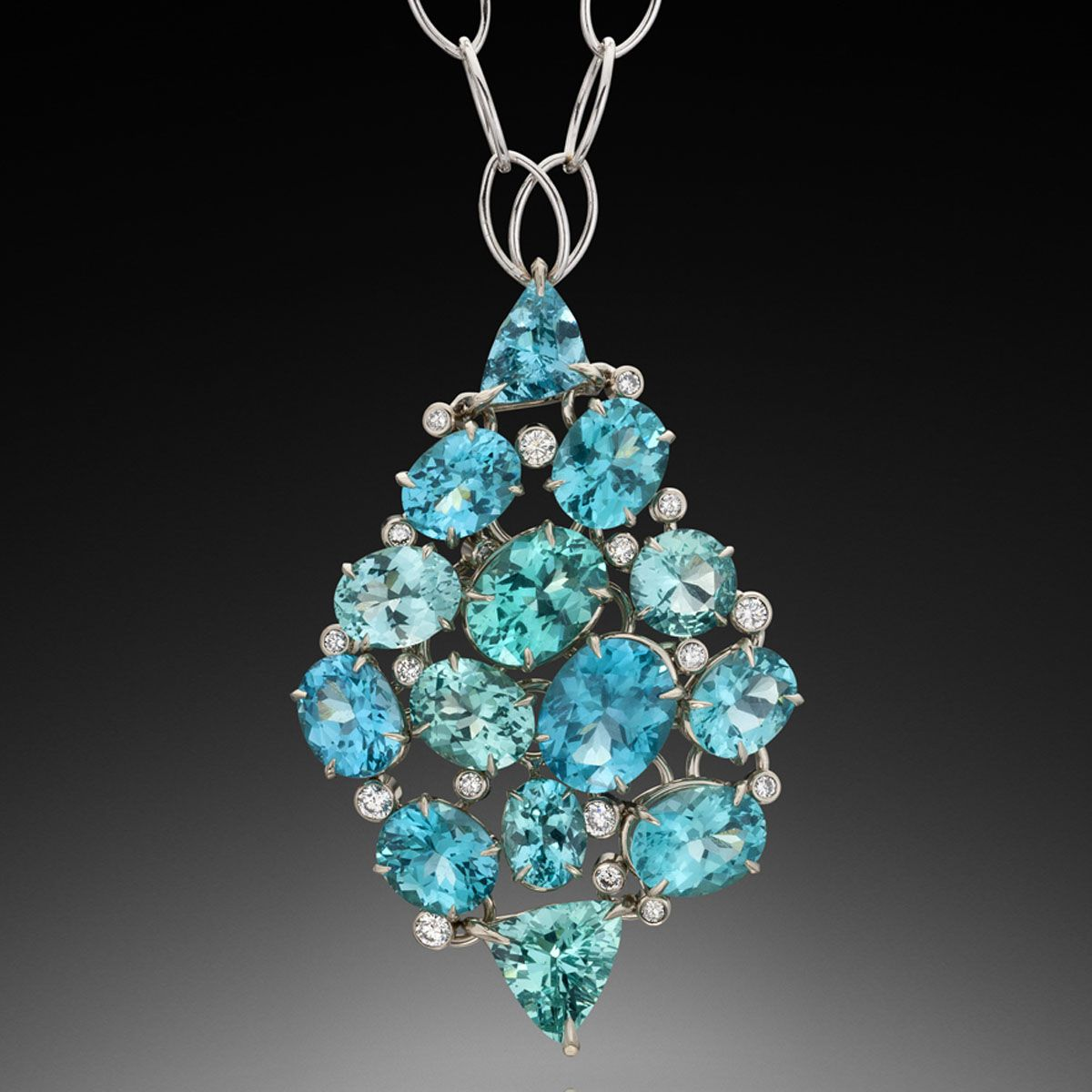 Caribbean song pendant white diamonds caribbean and blue green