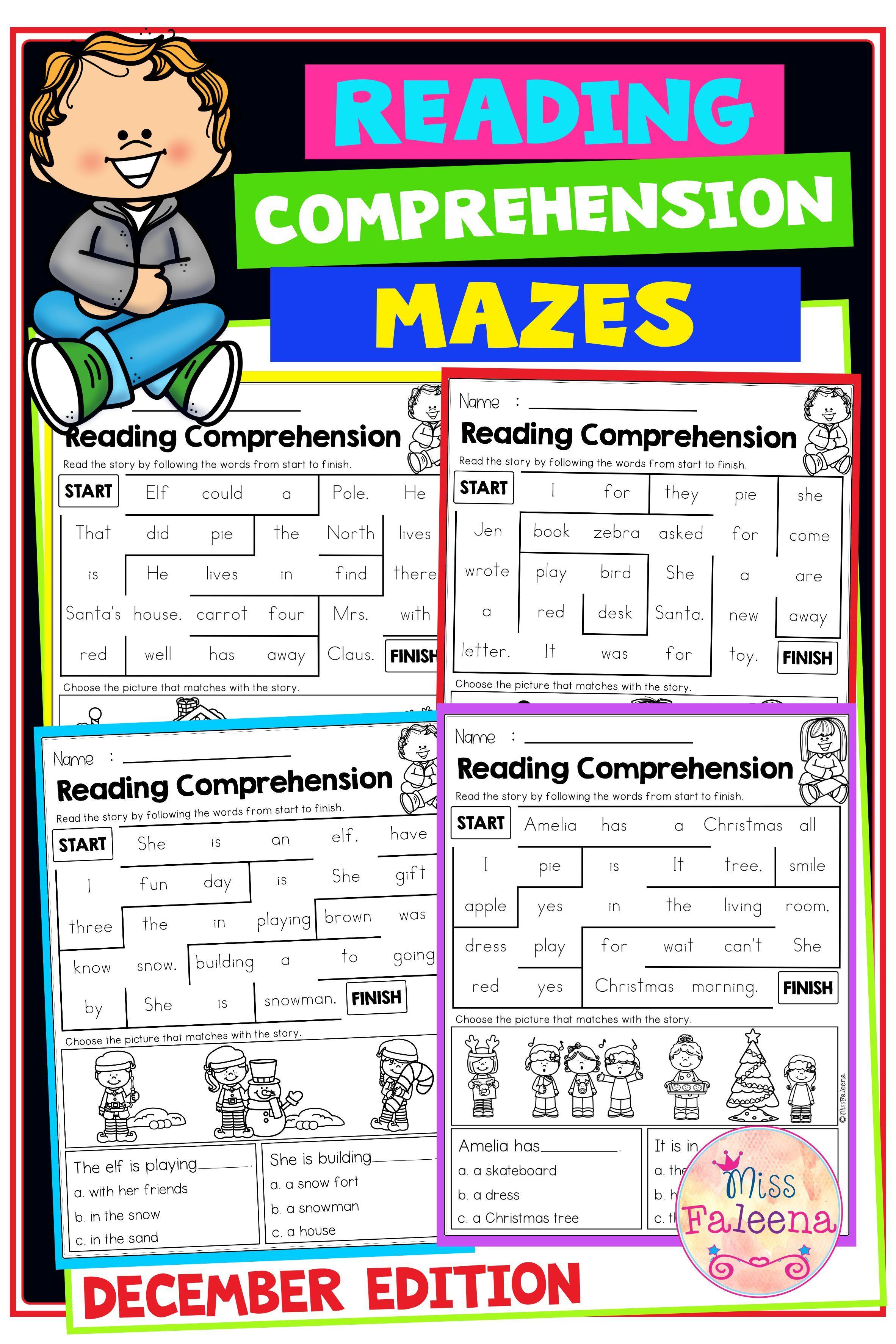 Predownload: December Reading Comprehension Mazes Reading Comprehension Teaching First Grade First Grade Worksheets [ 3544 x 2364 Pixel ]