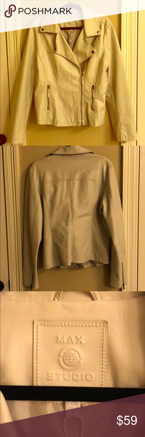 Max Studio off white faux leather moto jacket. Leather