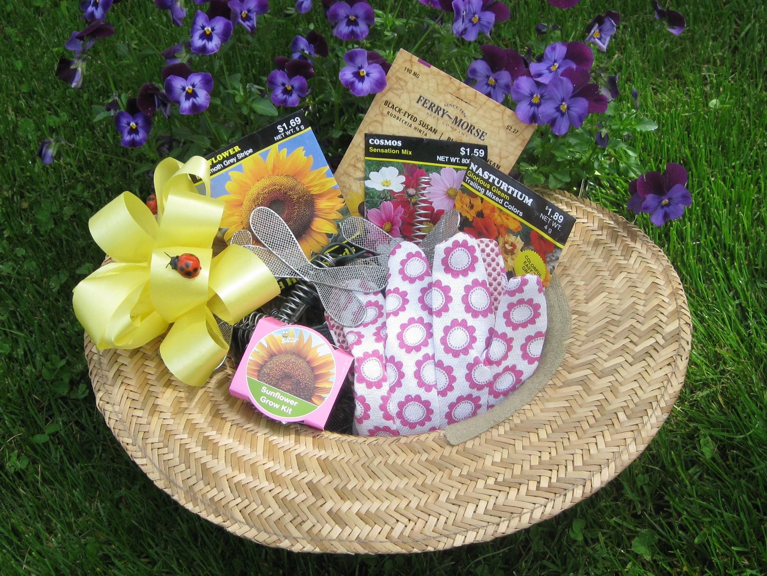 Gardening Gift Baskets Make A Garden Hat Into A Gift Basket For