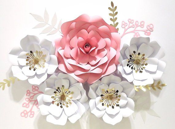 Large Paper Flowers Nursery Decor Baby Girl Name Sign Flowers