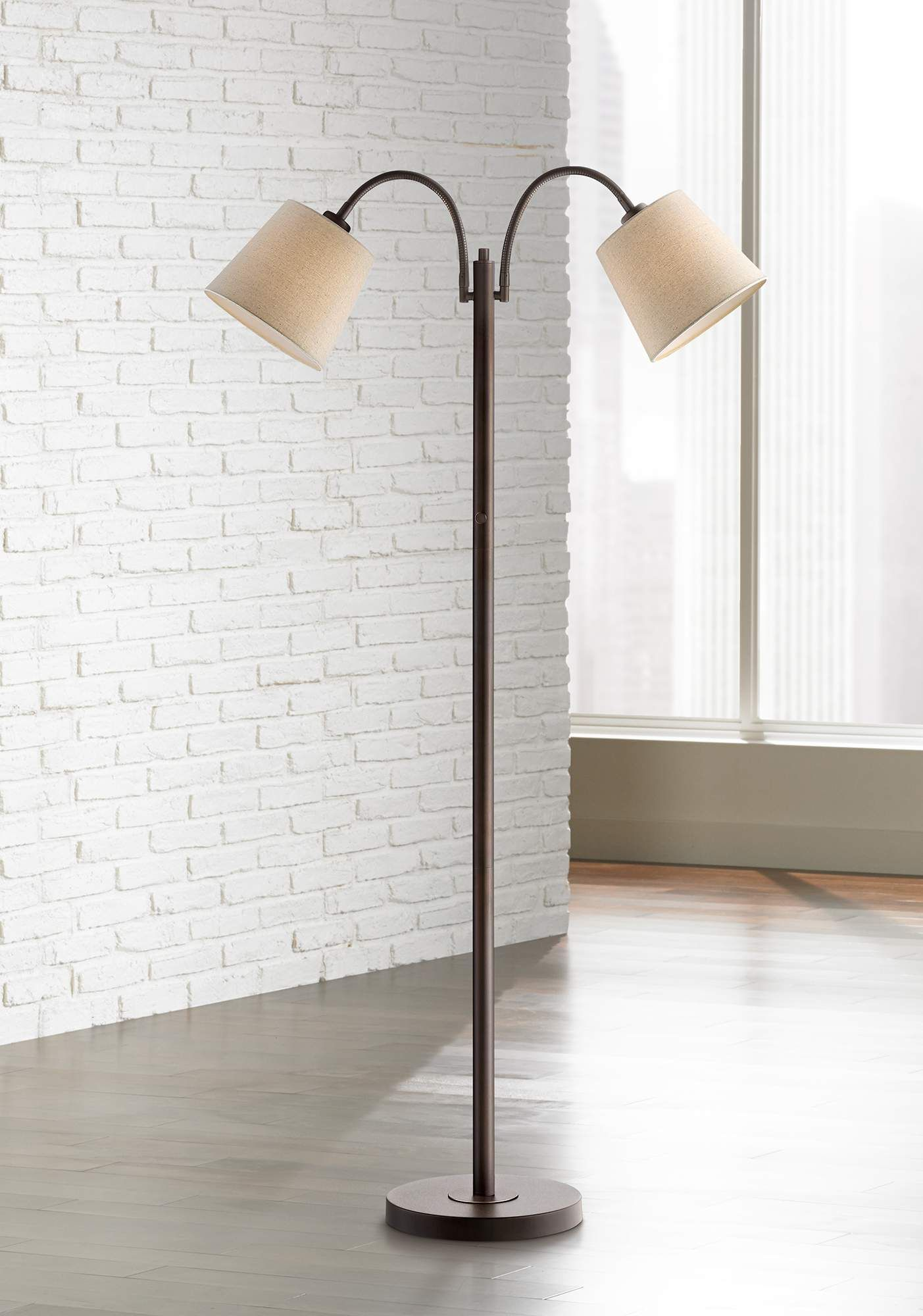 Seneca Bronze Twin Arm Gooseneck Floor Lamp 1Y460