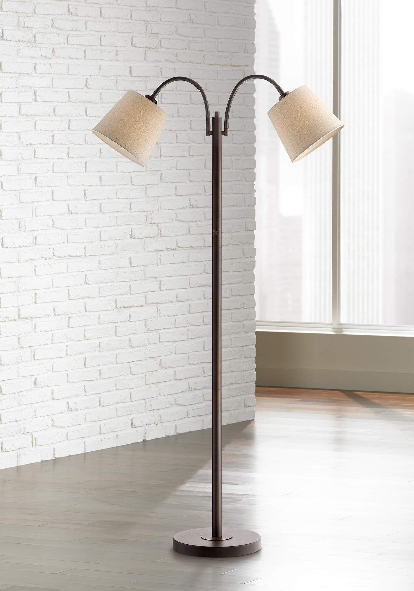 Seneca Bronze Twin Arm Gooseneck Floor Lamp 1y460 Lamps Plus