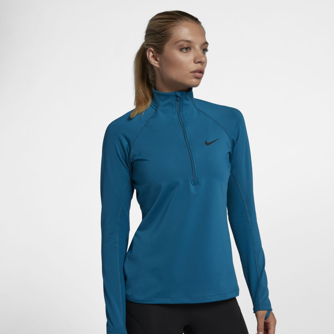 buy online 79078 bfa01 Nike Pro Warm Women s Long Sleeve 1 2-Zip Training Top Size 2XL (Green  Abyss)