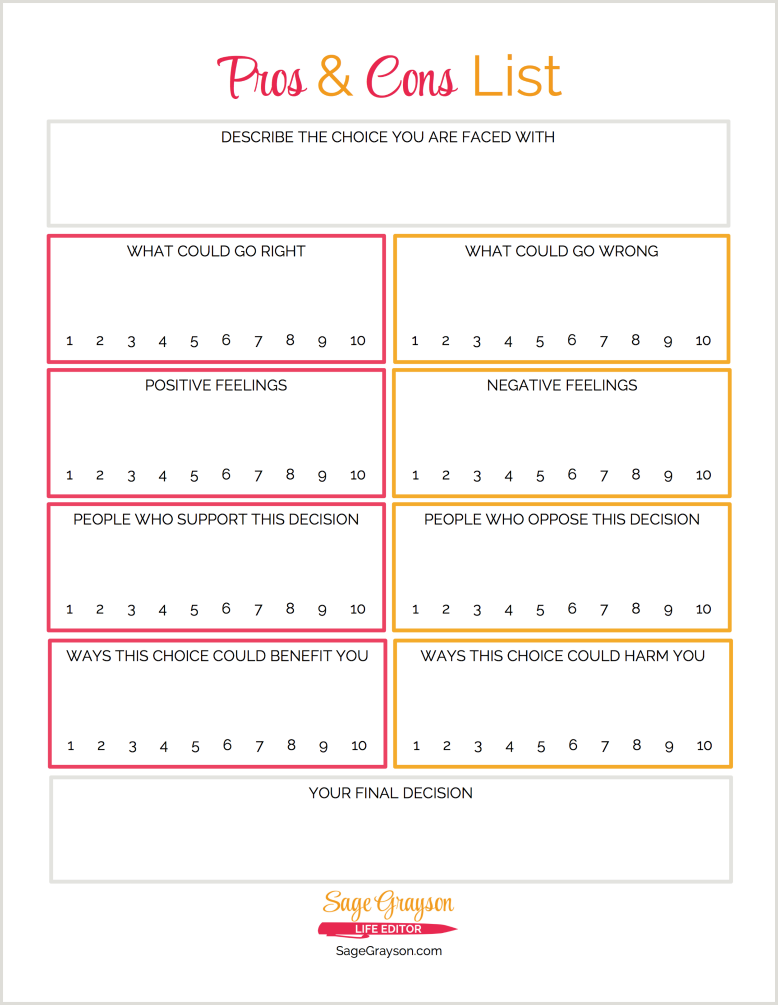 free printable worksheet  pros and cons list