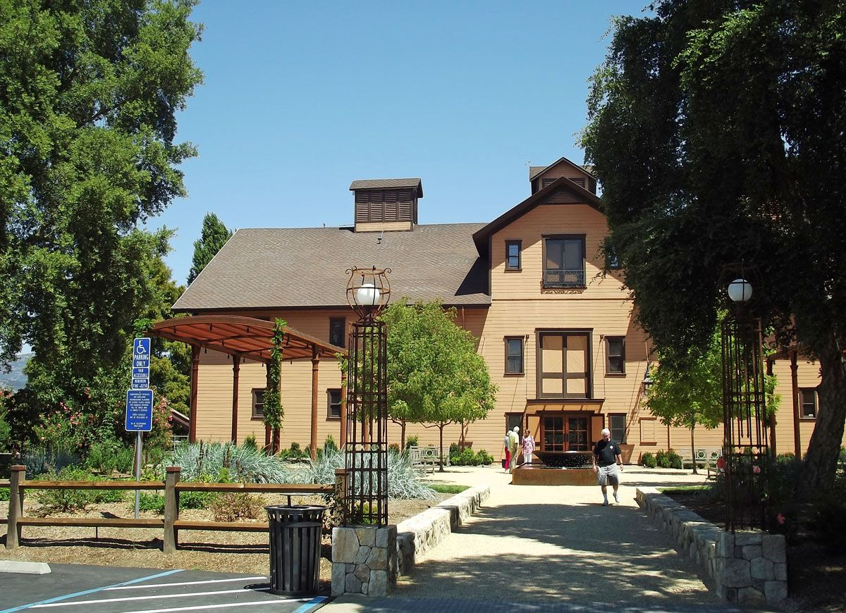 Designated a National Historic Landmark, the 19th-century redwood winery is still a working cellar.