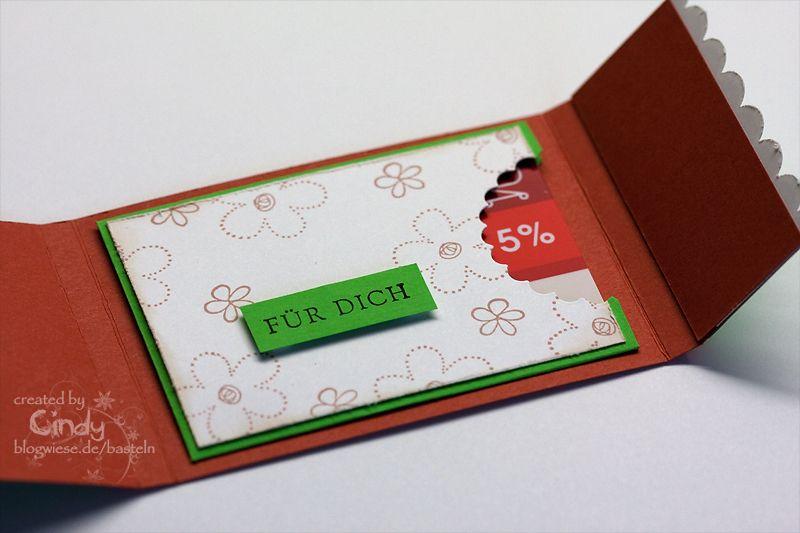 gutscheinkarte mit fach diy pinterest karten gutscheine und geschenke. Black Bedroom Furniture Sets. Home Design Ideas