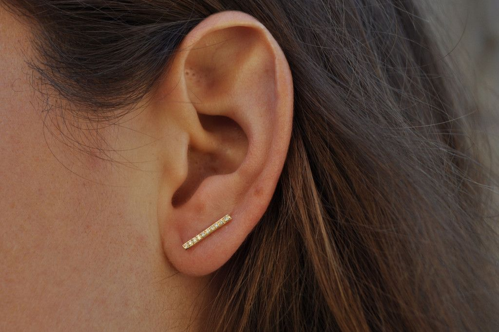 earrings gold flat balance bar dipped dogeared stud