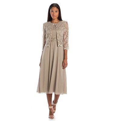 Jessica Howard Ruched Midi Dress & Lace Jacket Set - Women's
