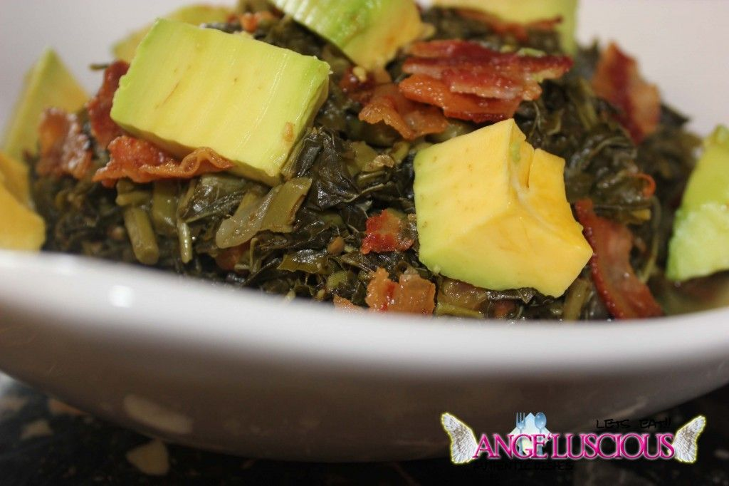 Steamed Callaloo (Jamaican Spinach) with Bacon and Avocado