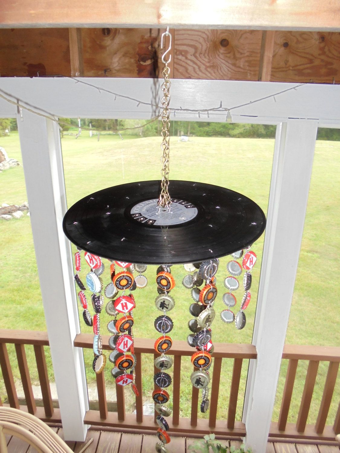Handmade Windchime With Bottle Caps And Vinyl Record By